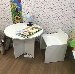 Combo mesa redonda tampo branco +  uma cadeira de fixa