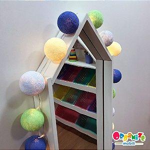 Fio de luz LED com 20 bolas - mix azul - 110W