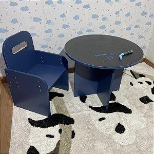 Combo mesa redonda azul tampo blackdots + uma cadeira azul com regulagem