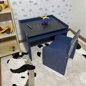 Combo mini office - Mesa (MARI63) azul + Cadeira com regulagem (CARI2) azul