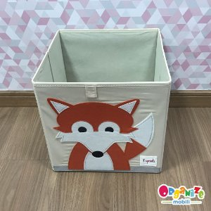 Cesto organizador infantil quadrado 3 sprouts modelo raposa