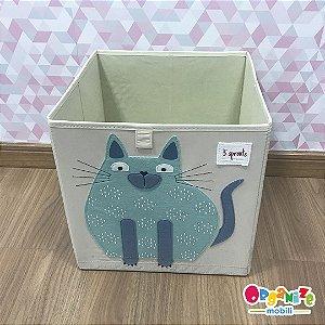 Cesto organizador infantil quadrado 3 sprouts modelo gato