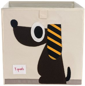 Cesto organizador infantil quadrado 3 sprouts modelo cachorro