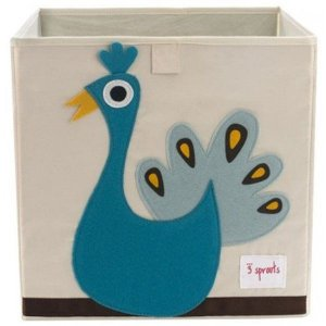Cesto organizador infantil quadrado 3 sprouts modelo pavão