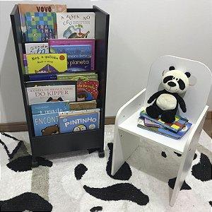 Organizador de livros compacto de chão - Cor Preta