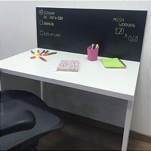 Mesa Job branca com divisória em blackdots - medida: 120x60x75