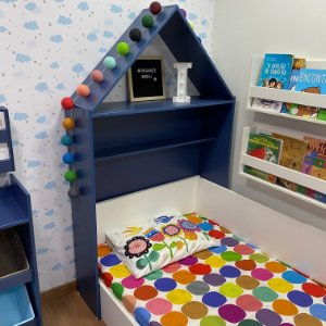 Cabeceira de casinha infantil azul (cama de solteiro)