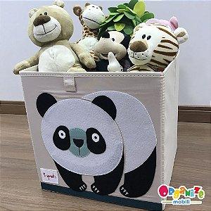 Cesto organizador infantil quadrado 3 sprouts modelo panda