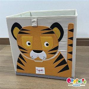 Cesto organizador infantil quadrado 3 sprouts modelo tigre