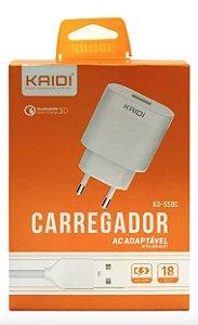 CARREGADOR KAIDI AC ADAPTÁVEL TIPO C KD-550C