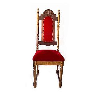 Cadeira de Jantar de Madeira com Veludo Vermelho