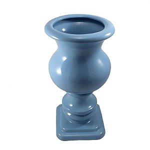 Vaso de Porcelana Azul Bebê com Pé Quadrado