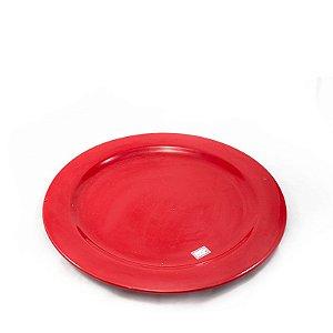 Prato de Porcelana Vermelha Largo