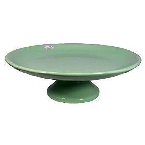 Sousplat Redondo Baixo em Porcelana Verde Claro - Grande