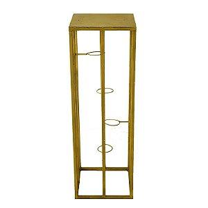Coluna de Ferro Dourado Com Suporte para 4 Velas 96x31