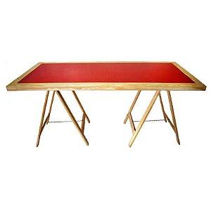 Mesa Cavalete Madeira Clara - Vermelha 85x180