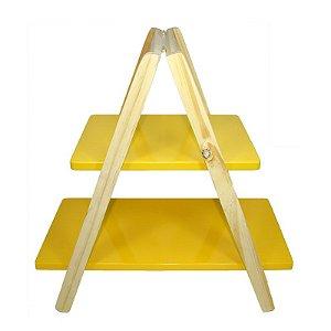 Mesinha Escada de Madeira Amarela 46x45
