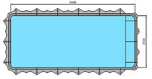 Piscina Hybrida - Modelo 160007 - Retangular Simples com banco - 5,95 m x 2,50 m x 1,40 m - Fluidra