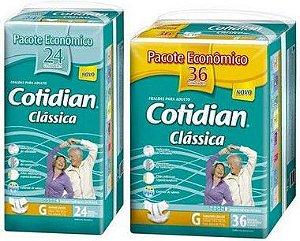 Fralda Geriatrica Cotidian Classica Tam G  Kit 60 Unid
