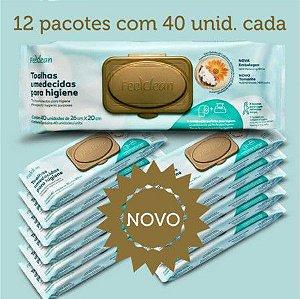 Toalha Umedecida Adulto Feelclean Premium Kit c/12 pacotes