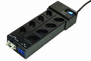 Filtro de linha DPS Clamper Multi Proteção 8 tomadas - Preto (X-FC-PT-8Bt-2J1-2CF-L-P)