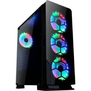 Gabinete LIKETEC DIAMOND RGB - 3 FAN RGB Frontal - Vidro Temperado Preto MID TOWER