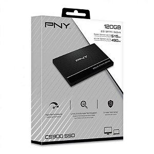 "SSD PNY CS900 120GB 2.5"" 3D TLC SATA III 6GB/S Leitura 515MBs Gravação 490MBs (SSD7CS900-120-RB)"