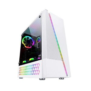 Gabinete Bluecase Gamer BG-018W Branco RGB, Lateral em Acrílico USB 3.0 (BLUBG18W)