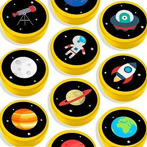 Latinha para Lembrancinha Festa Astronauta - Amarela - 20 unidades - Lembrafesta