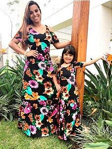 9bb07d376 Vestido Longo Mãe e Filha Floral Preto