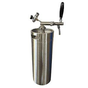 KIT: Growler Inox Mini Keg 10L + Tampa Growler em Inox com Torneira Italiana e Reguladora de CO2