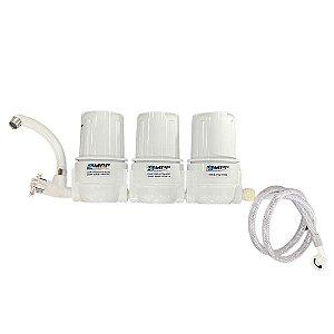 "Filtro Triplo de Água - 5"" (com filtros) - CARCAÇA BRANCA"