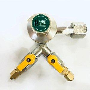 Regulador de Pressão para CO2 - 2 vias - Pre-Calilbrada