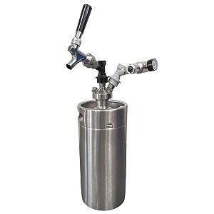 KIT: Growler Inox Mini Keg 3,6L + Tampa Growler Postmix + Mini Reguladora CO2 + Torneira Americana