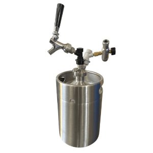 KIT: Growler Inox Mini Keg 5L + Tampa Growler Postmix + Mini Reguladora CO2 + Torneira Americana