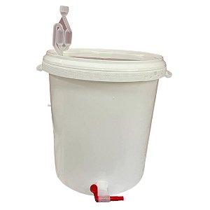 Balde Alimentício 30 Litros - Completo (airlock, vedante, torneira)