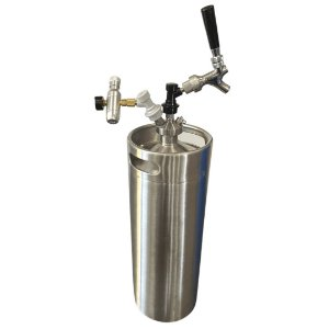KIT: Growler Inox Mini Keg 10L + Tampa Growler Postmix + Mini Reguladora CO2 + Torneira Americana