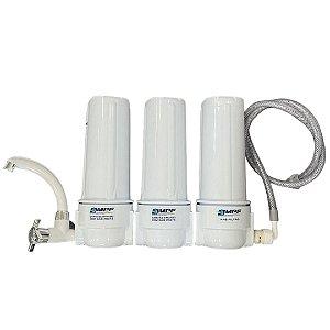 "Filtro Triplo de Água - 9"" - 3/4 (com filtros)  - CARCAÇA BRANCA"