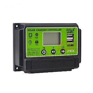 CONTROLADOR DE CARGA SOLAR PWM 30A 12V/24V LCD 2 USB SUNCHONGLIC