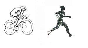 Adesivo para Carro Ictus Ciclista e Corredor Cromado Emblema