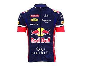 Camisa de Ciclismo Masc Red Bull Ziper Inteiro Azul Tam M