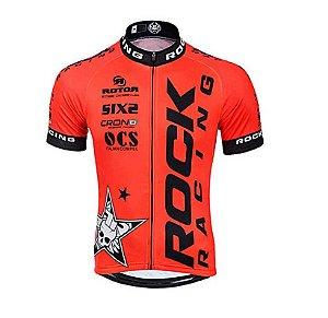 Camisa de Ciclismo Rock racing Ziper Inteiro Vermelho Tam G