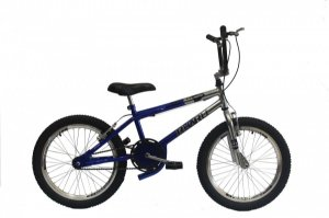 Bicicleta Rharu Cross Aro 20 infantil Azul Prata