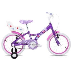 Bicicleta Infantil Tito Aro 16 Roda Aluminio Roxa Com Cadeirinha de Boneca