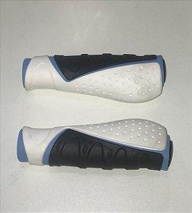 Manopla Kraton Tripla Densidade Ergonomica 130mm de Borracha com Gel Branca Azul Preta