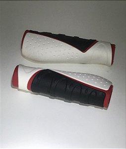 Manopla Kraton Tripla Densidade Ergonomica 130mm de Borracha com Gel Branca Vermelho Preta
