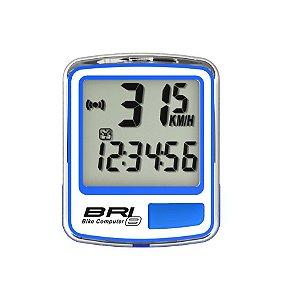 Ciclocomputador Echowell BRI 8 Com Fio de 8 Funçoes Para Bicicletas Speed / MTB Azul