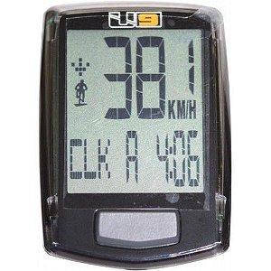 Ciclocomputador Echowell U 9 Com Fio de 9 Funçoes Para Bicicletas Speed / MTB Preto