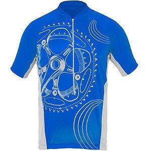 Camisa Curtlo Vintage II MC de Ciclismo Masculino Manga Curta Azul Royal
