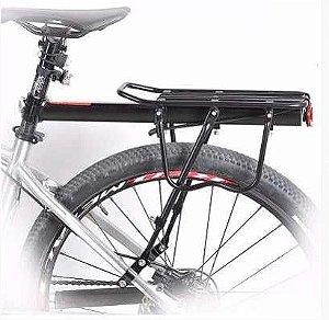 """Bagageiro Traseiro Yamada H27 Com Regulagem para Bicicleta 26"""" a 29"""" Disco Alumínio Preto"""